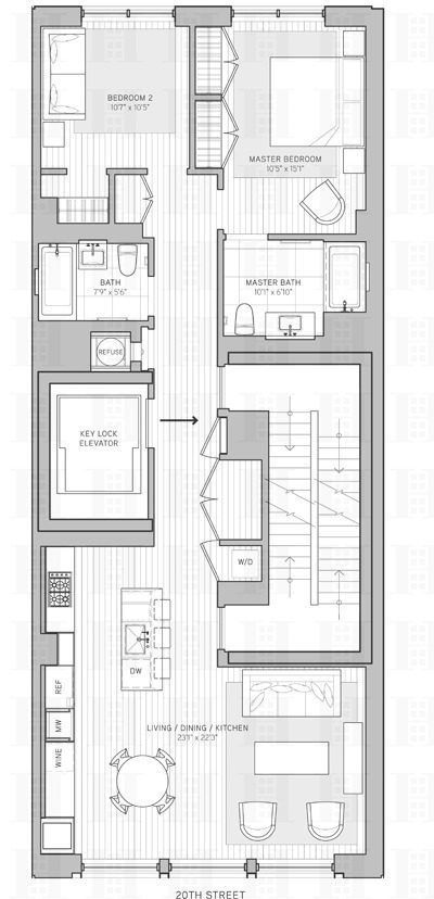 Two Floor Through Apartments At The Unbuilt 21w20 Development Have Hit Market Identical Bedroom Bathroom Are Comprised Of
