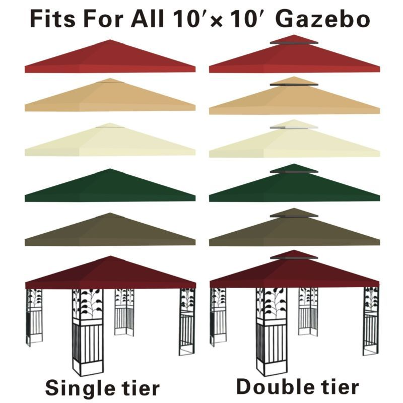 New 10 X10 Replacement Canopy Top Patio Pavilion Gazebo Tent Sunshade Cover Uv Gazebo Canopy Canvas Canopy Replacement Canopy