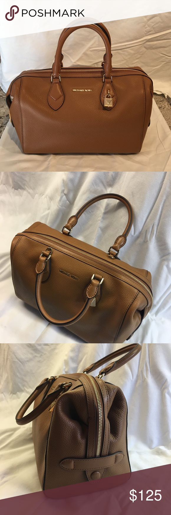 04734da7389221 Michael Kors Duffle Handbag Authentic MK Duffle w/strap -Medium in Khaki  Measurements:
