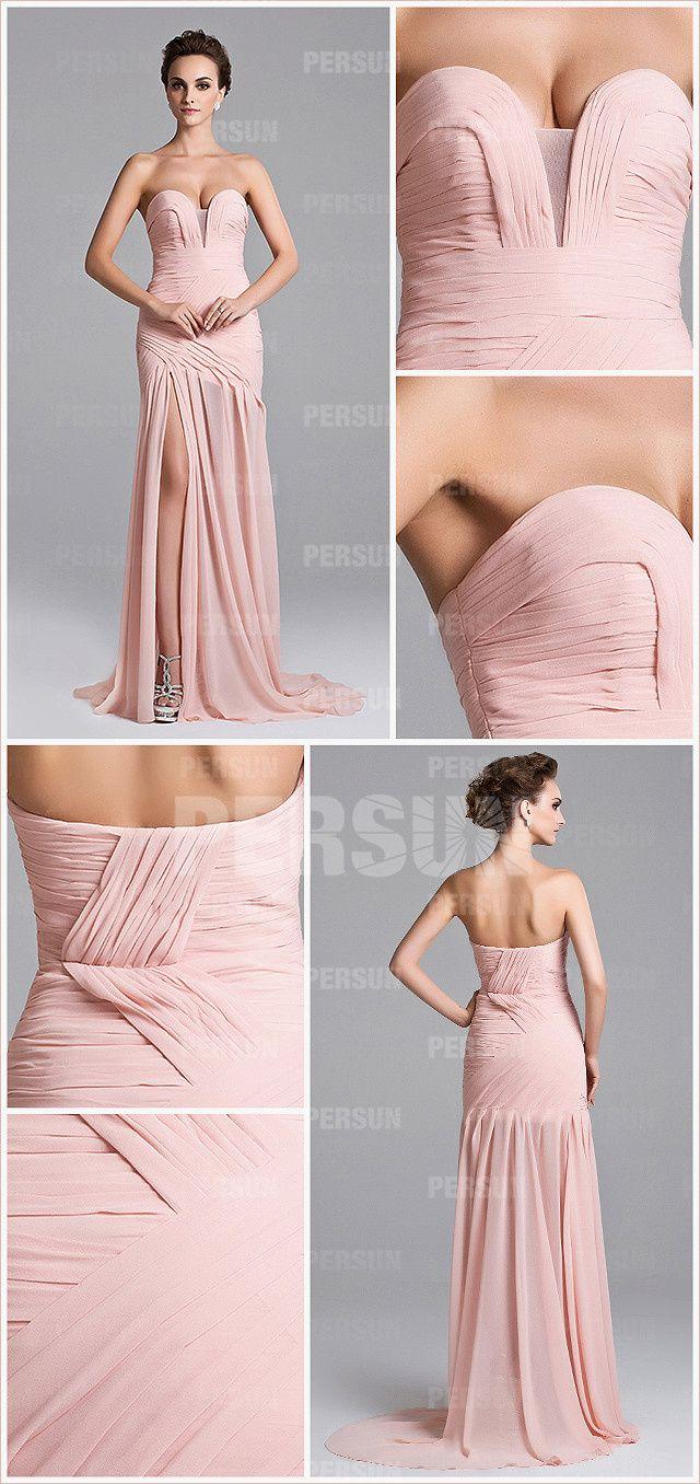 592cb0d25c0 Sexy robe pastel longue à fente latérale