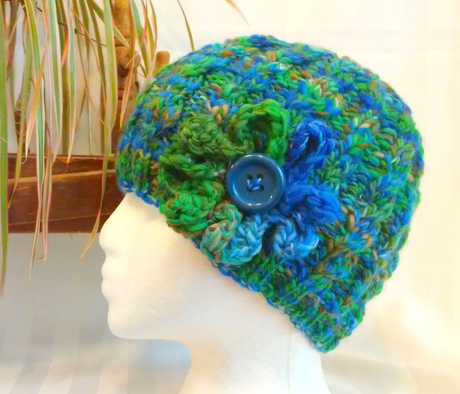 READY TO SHIP. Winter Knit Hat. Handspun Cable Beanie. Blue. Green. Medium Brown. Crocheted Flower. Button. Beanies for Her. Gifts for Her. by JoyfulHandKnits on Etsy