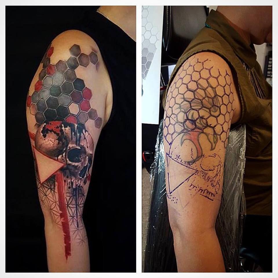 4f4daa61e Chronic Ink Tattoo - Toronto Tattoo Geometric and skull trash polka  cover-up by Csaba (Joe).