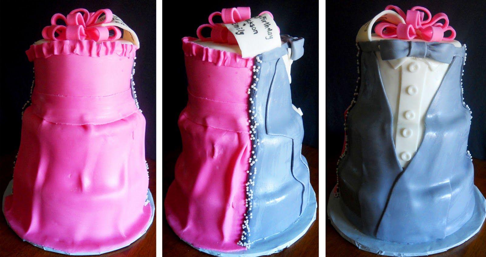 Half Dress Half Tux Cake For Boy Girl Twin 16th Birthday