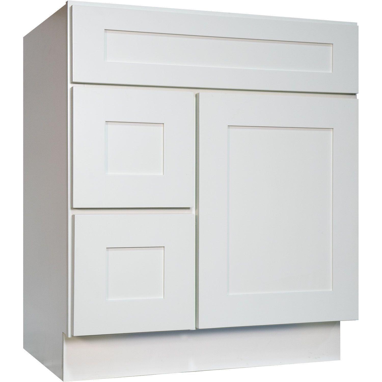 Everyday Cabinets White Shaker 30-inch Single Sink Bathroom Vanity ...