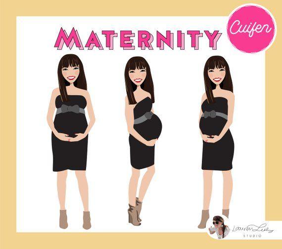 Maternity Portrait Pregnant Lady Logo Clip Art
