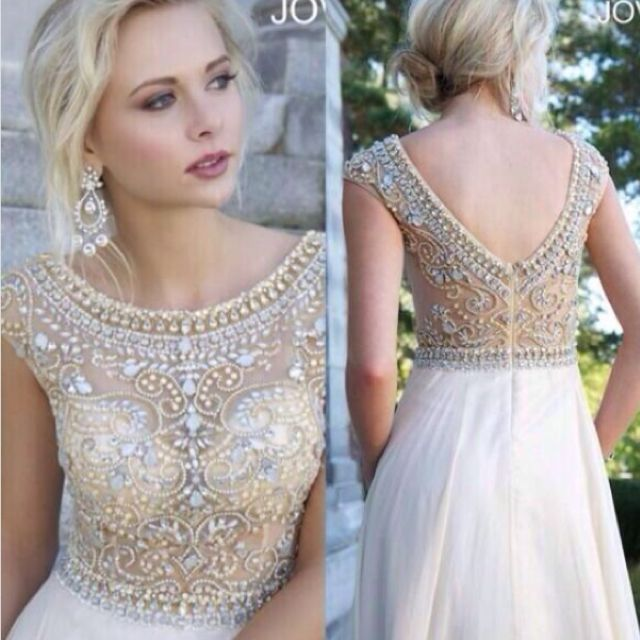 1856e362161 Gold Crystal Beaded Prom Ball Dresses with Cap Sleeve Long Formal ...