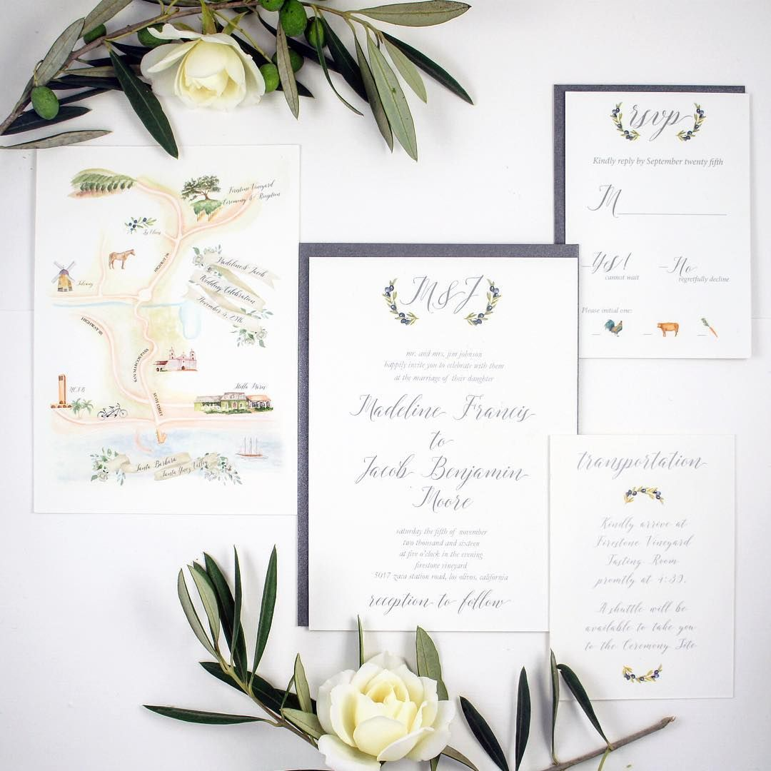 Grey and Olive Elegant Country Wedding Invitation Suite with ...