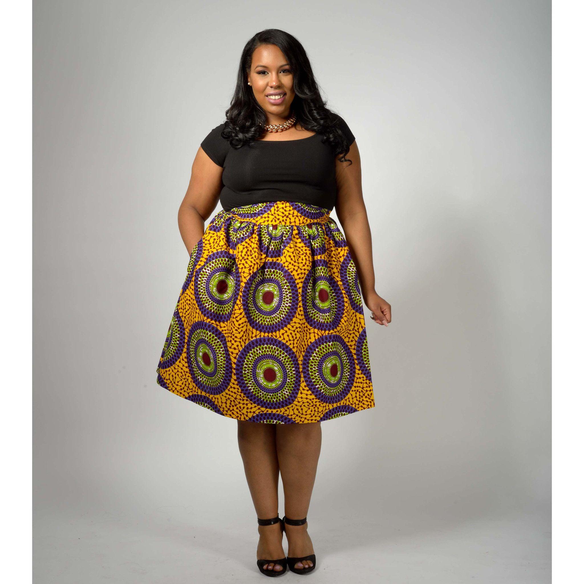 Amsa African Print Midi Skirt with Sash (Yellow/Purple Circles ...