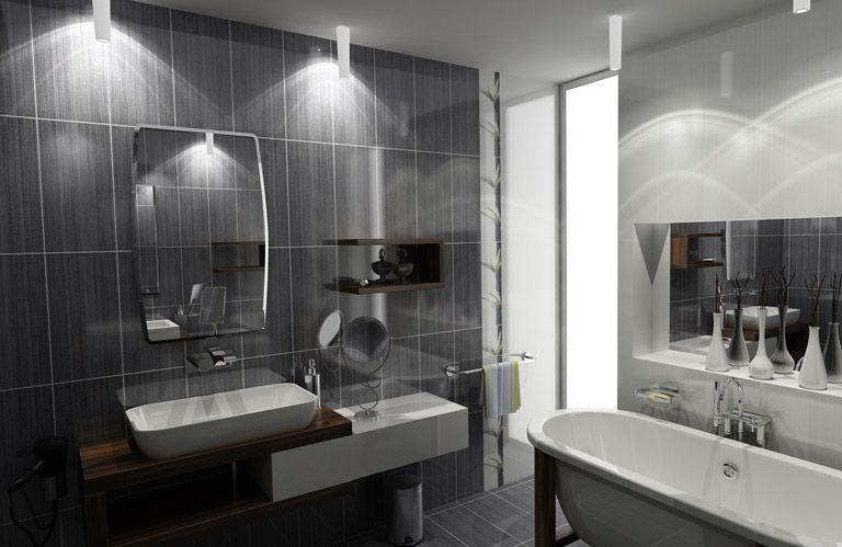 salle de bain grise et bois Maison et déco Pinterest Bath