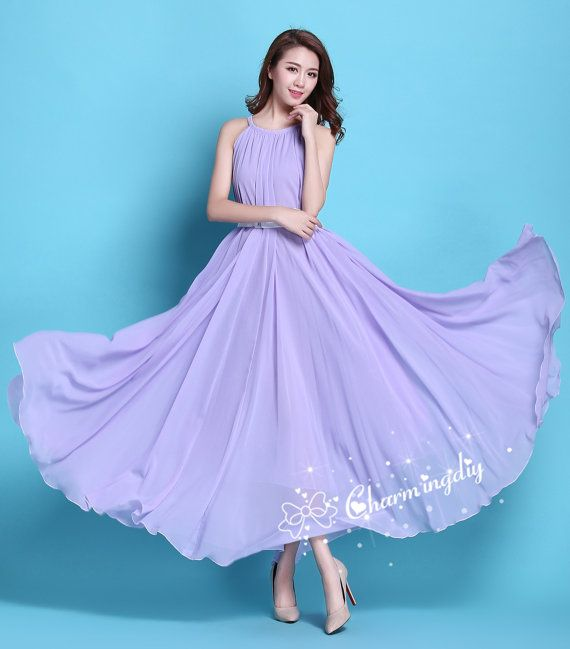 110 Colors Chiffon Light Purple Long Party Evening Wedding