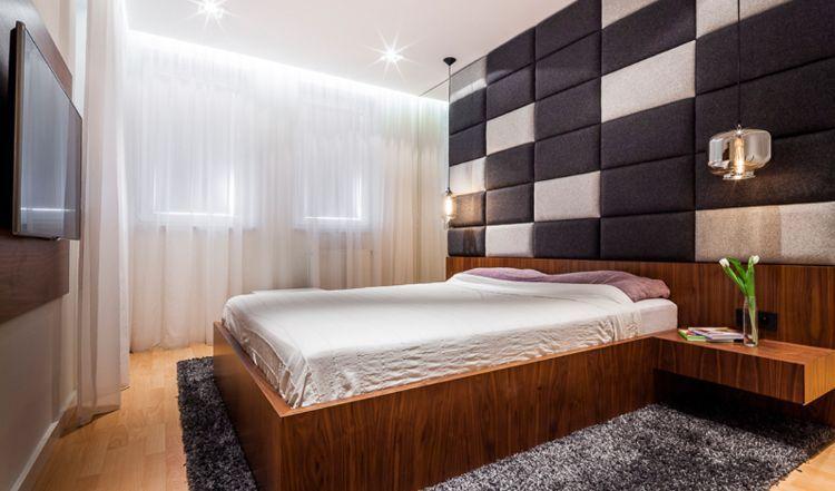 Polsterwand Im Schlafzimmer Wandpaneel Bett Rückenpolster Wand Rückenlehne  Polster Design Braun Beige Modern Minimalistisch Holzbett