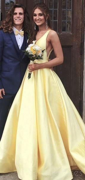 Cheap Yellow VNeck Aline Long Evening Prom Dresses, Cheap Party Custom Prom Dresses, 18616 - Elegant prom dresses, Custom prom dress, Prom dresses yellow, Fancy dresses party, Prom party dresses, Prom dresses online - Cheap Yellow VNeck Aline Long Evening Prom Dresses, Cheap Party Custom Prom Dresses, 18616 The LongEvening Prom Dressesarefully lined,4 bones in the bodice, chest pad in the bust, lace up back or zipper back are all available, total 126 colors are available, it could be custom made, there are no extra cost to do