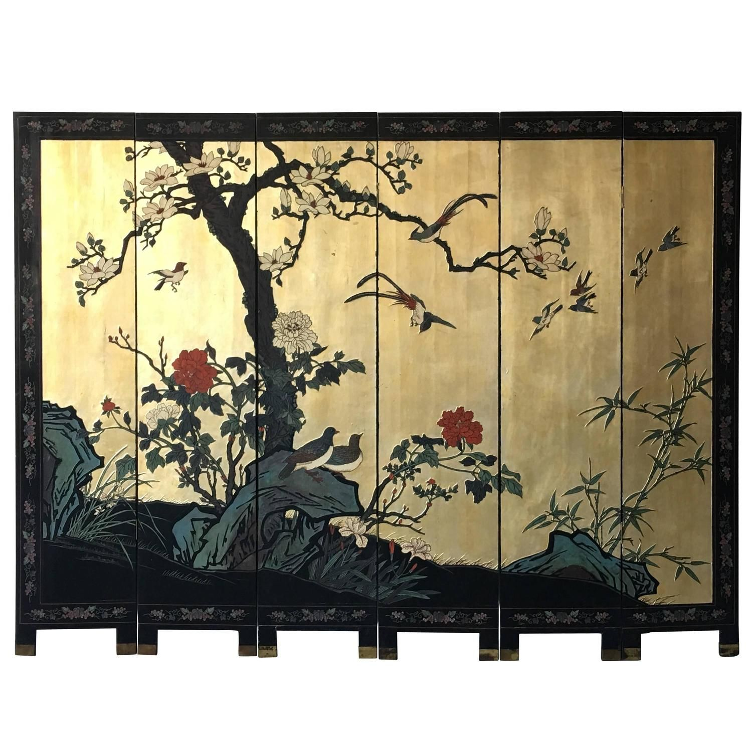 S Black And Gold Cherry Blossom SixPanel Room Divider Screen - Cherry blossom room divider screen