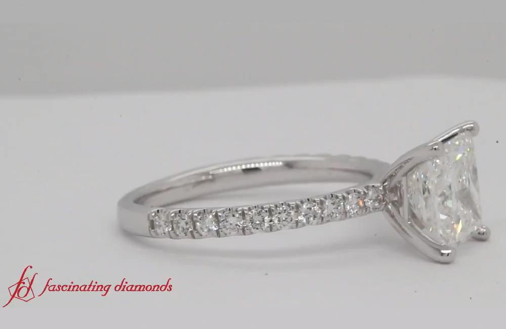 Photo of 18k White Gold Cushion Moissanite Diamond Halo Engagement Promise Ring – Fine Jewelry Ideas