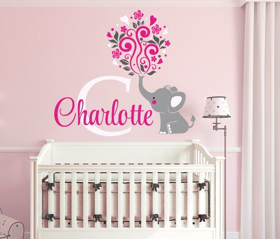 Elephant Custom Name Personalized Initial Wall Decal Sticker For - Monogram wall decals for nursery