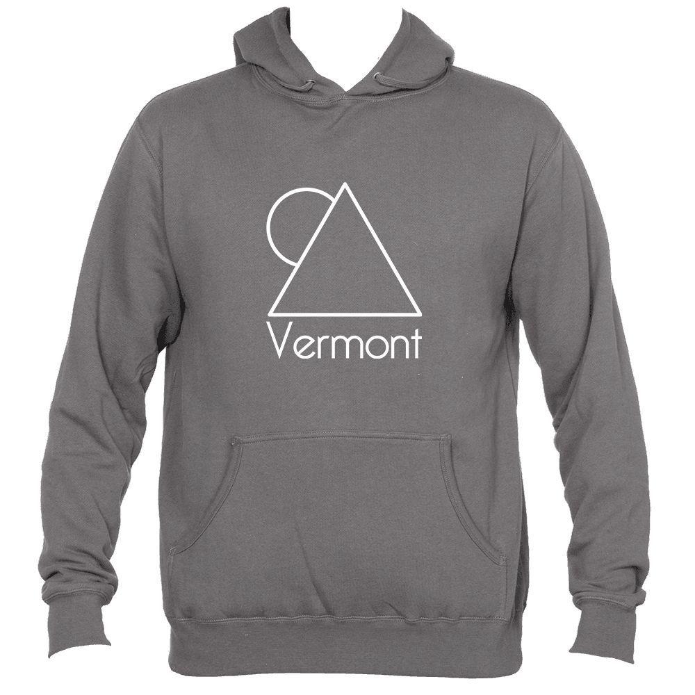 44e99091101c7 Vermont White Minimal Mountain and Sun - Men s Hooded Sweatshirt Hoodie