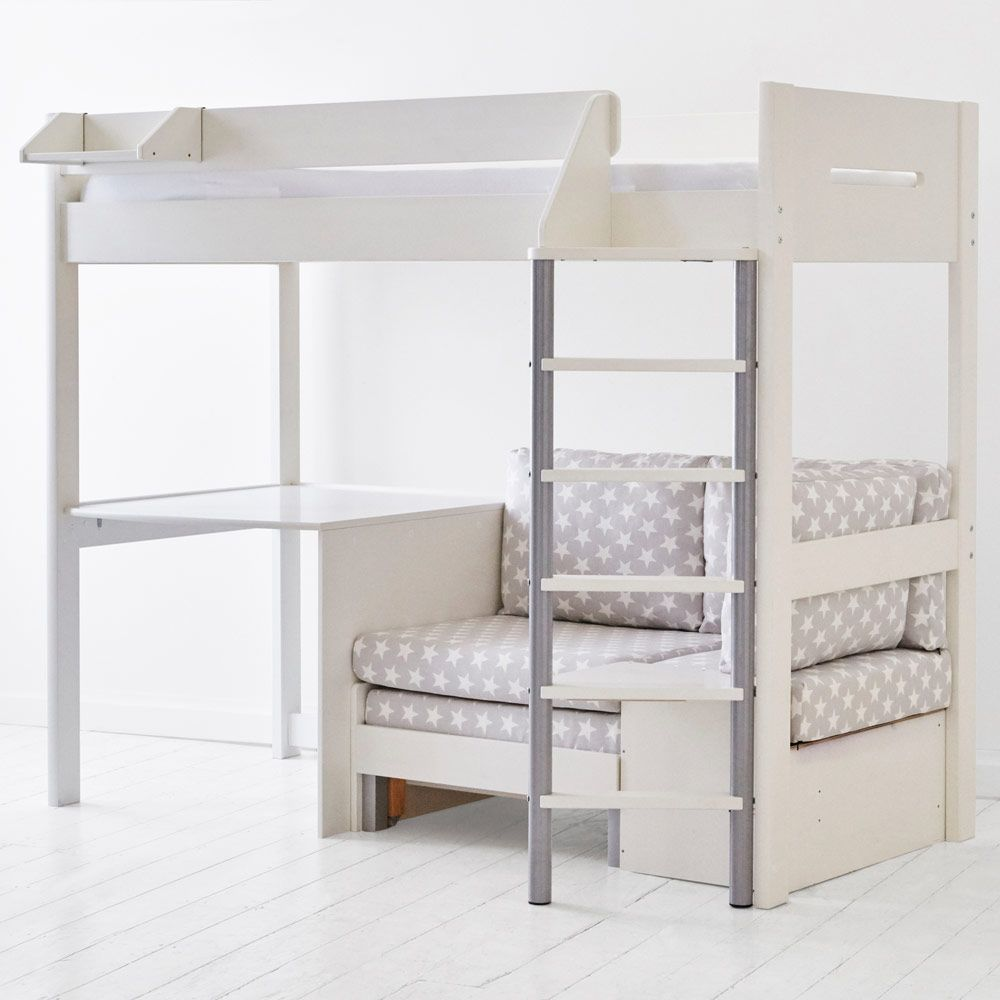 High sleeper loft style cabin bed with hideaway futon bed rutland - Merlin High Sleeper White With Pink Star Sofa Bed Beds Mattresses Up To 30percent Off Sale Titi Room Pinterest Mid Sleeper Bed