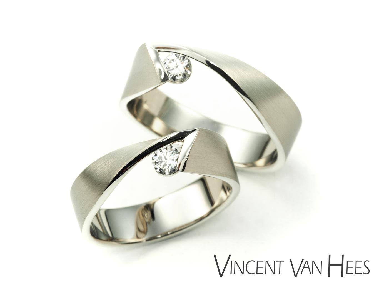 Y2k Rings By Vincent Van Hees In 18k White Gold With Diamonds Rings Vincentvanhees Y2kring We Wedding Ring Designs Wedding Rings Alternative Wedding Rings