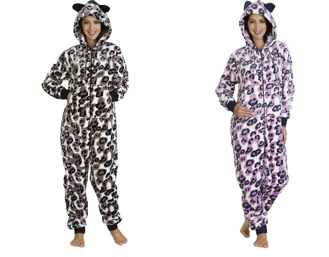 38284dc0f6 These luxurious ladies soft mink fleece zip up onesies are footless and  have an animal print pattern throughout.