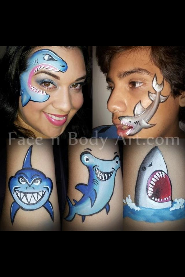 Sharks Face And Arm Painting
