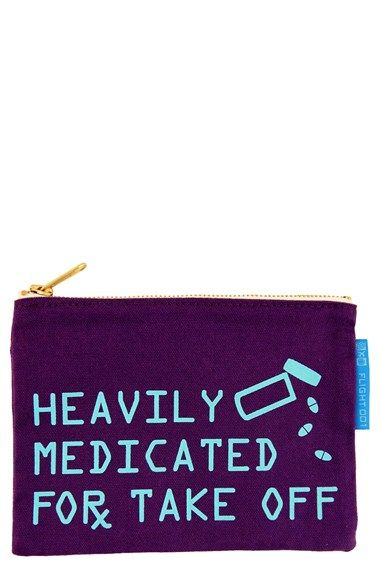 Free shipping and returns on FLIGHT 001 'Heavily Medicated' Travel Pouch at Nordstrom.com. Stash your chill pills in this zip-top pouch crafted from sturdy canvas that's great for organizing odds and ends whether your flying across the country or just buzzing around town.