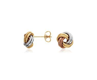 Blue Nile Trio Love Knot Earrings in 14k Tri-Color Italian Gold ww9lFz