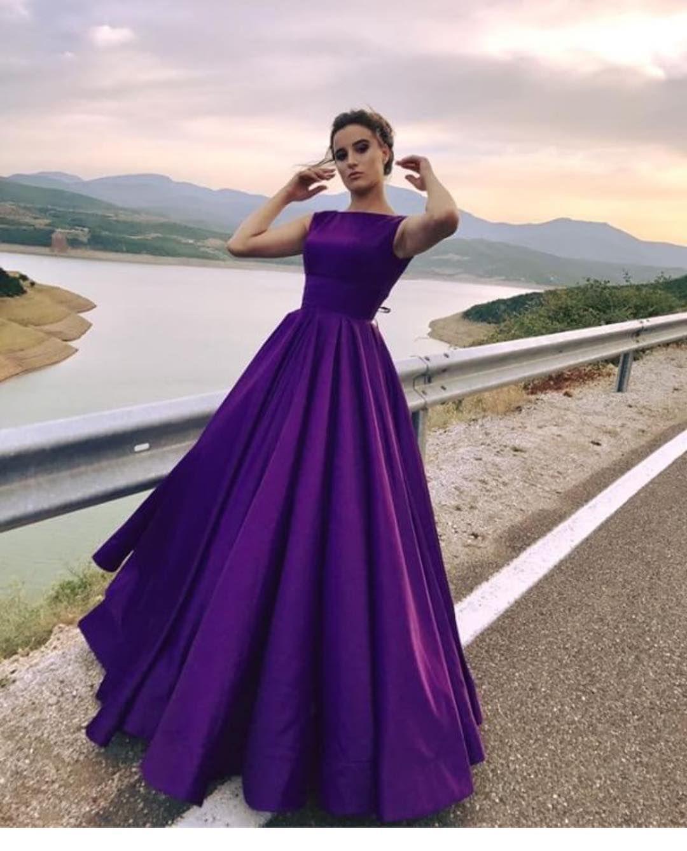 Prom dress opening back prom dresses long puffy purple satin