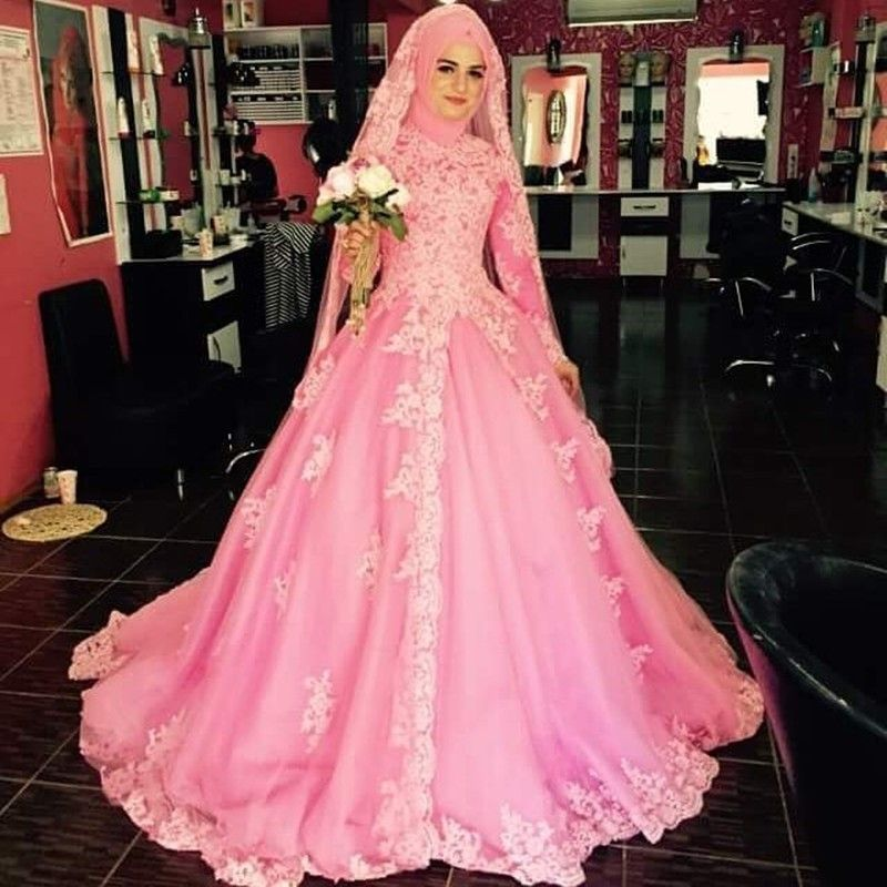 Saudi Arabia High Neck Long Sleeves Muslim Wedding Dresses Pink Ball ...