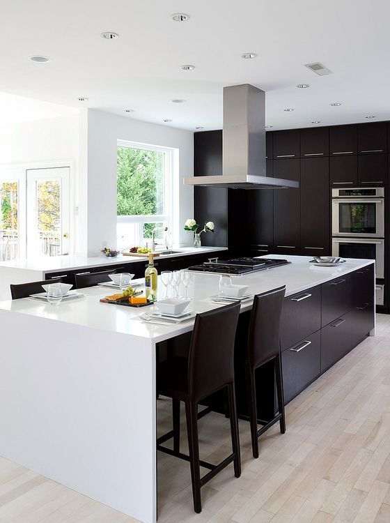 Modern Black And White Kitchen With Light Colored Wooden Floors Awesome Black And White Kitchens Designs Decorating Inspiration