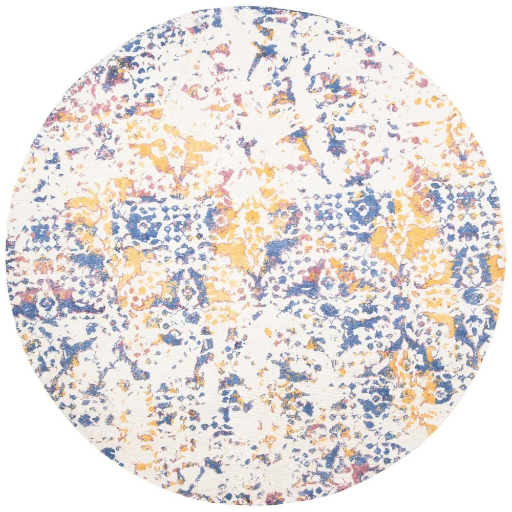 Safavieh Expression Ivory Navy 6 Ft X 6 Ft Round Area Rug