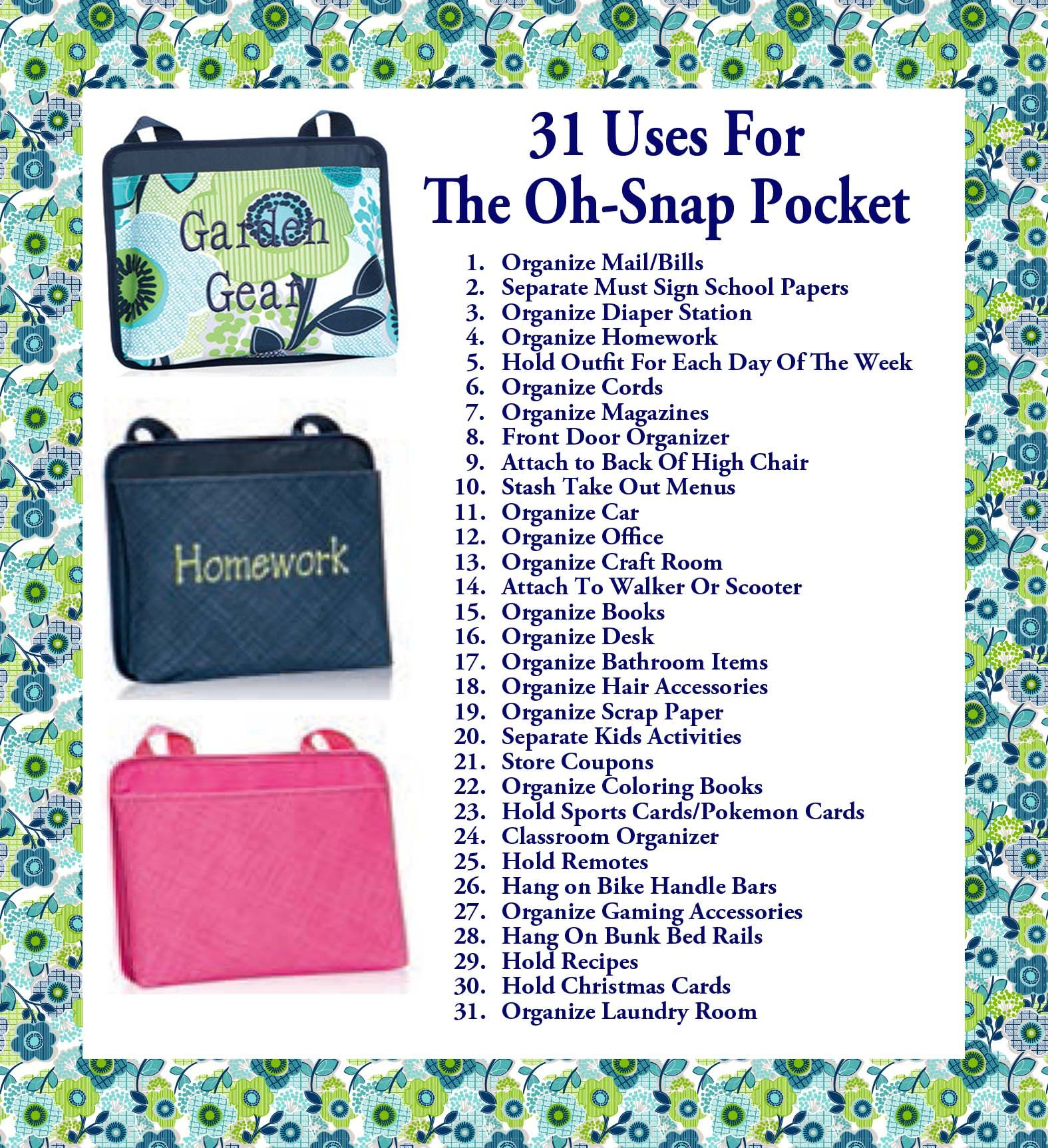 Oh snap bin ideas - 31 Uses For The Oh Snap Pocket Www Mythirtyone Com 1796661