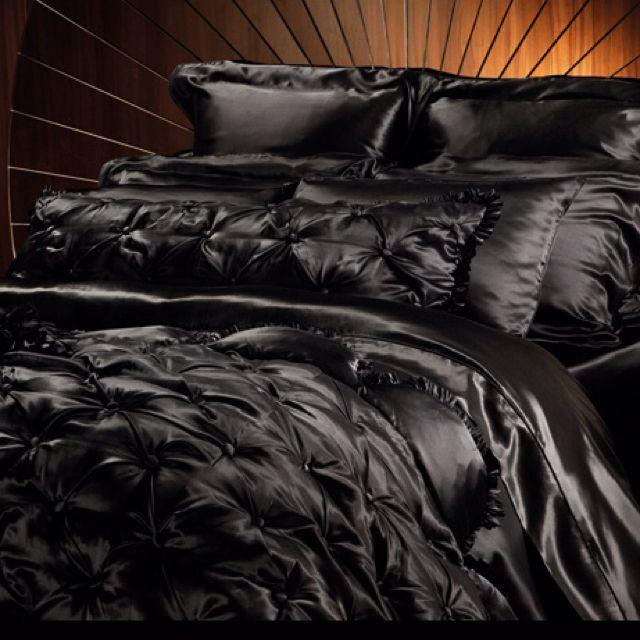 Black Silk Bed Sheets.