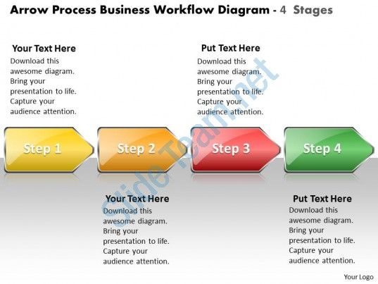 Business PowerPoint Templates Arrow Process Workflow Diagram 4 Stages Sales PPT Slides