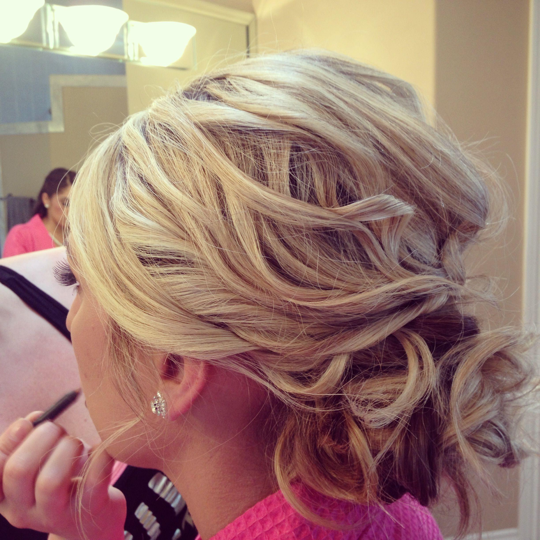Messy hair bun curls updo bride bridesmaid bridesmaids hairstyles