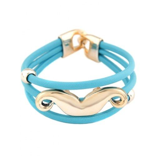 Y&F Blue with Gold Beard Cuff Bracelet - Online Shopping for Bracelets n Bangles by CrazeeMania