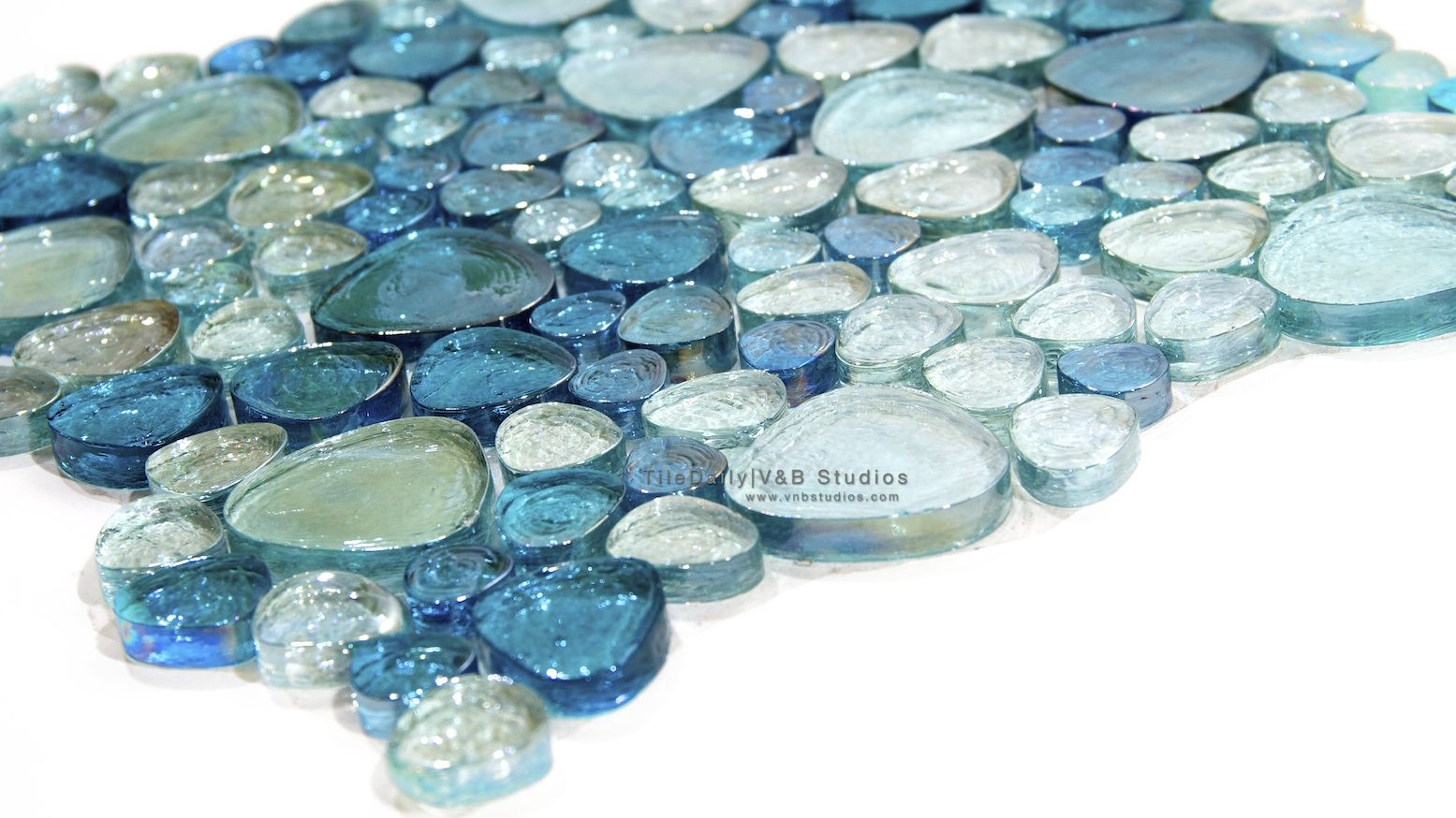 pebble mosaic | Iridescent Pebble Glass Mosaic, 3 colors ON SALE ...