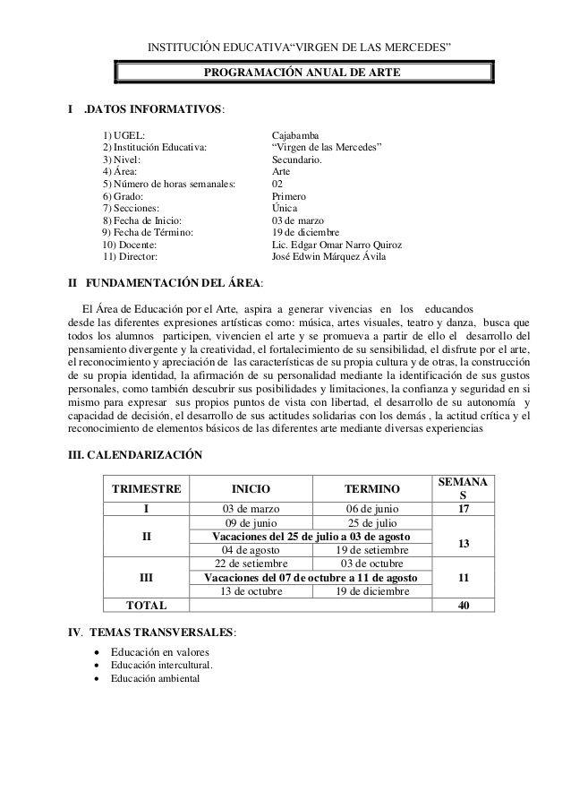 """INSTITUCIÓN EDUCATIVA""""VIRGEN DE LAS MERCEDES"""" PROGRAMACIÓN"""