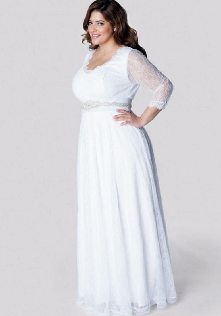Simple plus size wedding dresses with sleeves wedding ideas for Plus size simple wedding dress