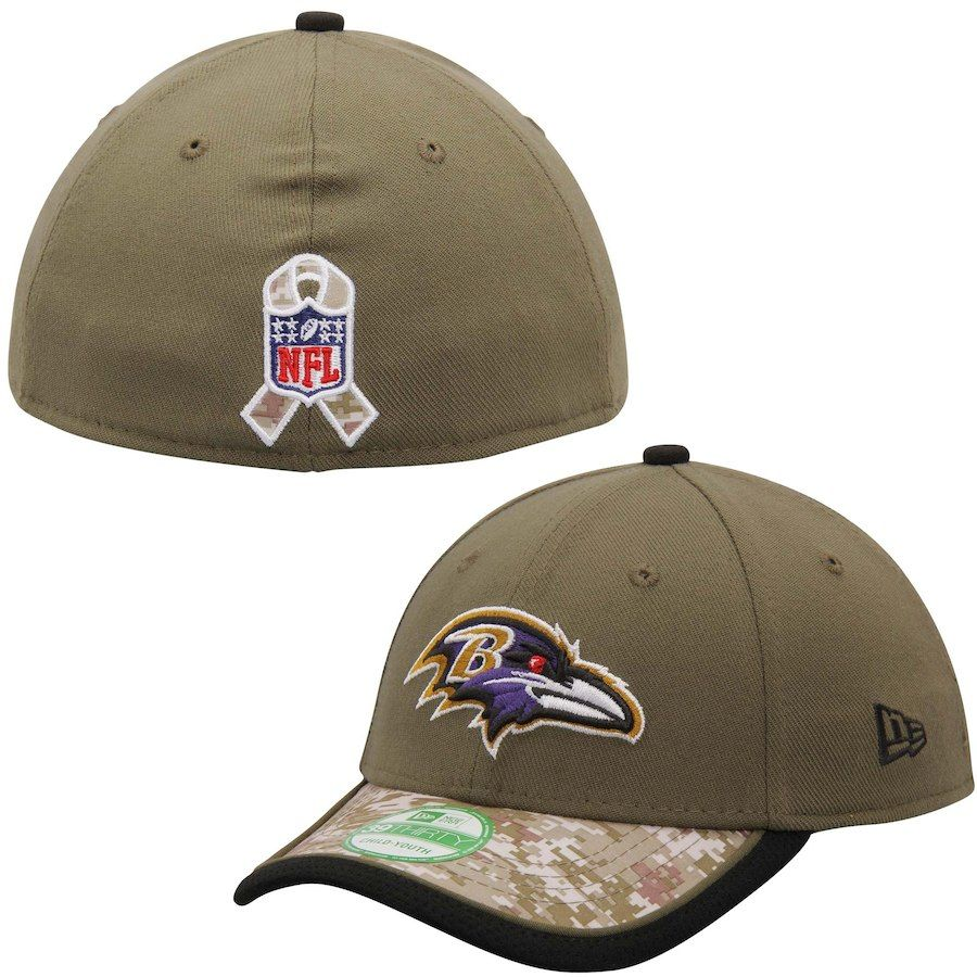 f207ccc5f Youth Baltimore Ravens New Era Olive Camo Salute to Service 39THIRTY Flex  Hat