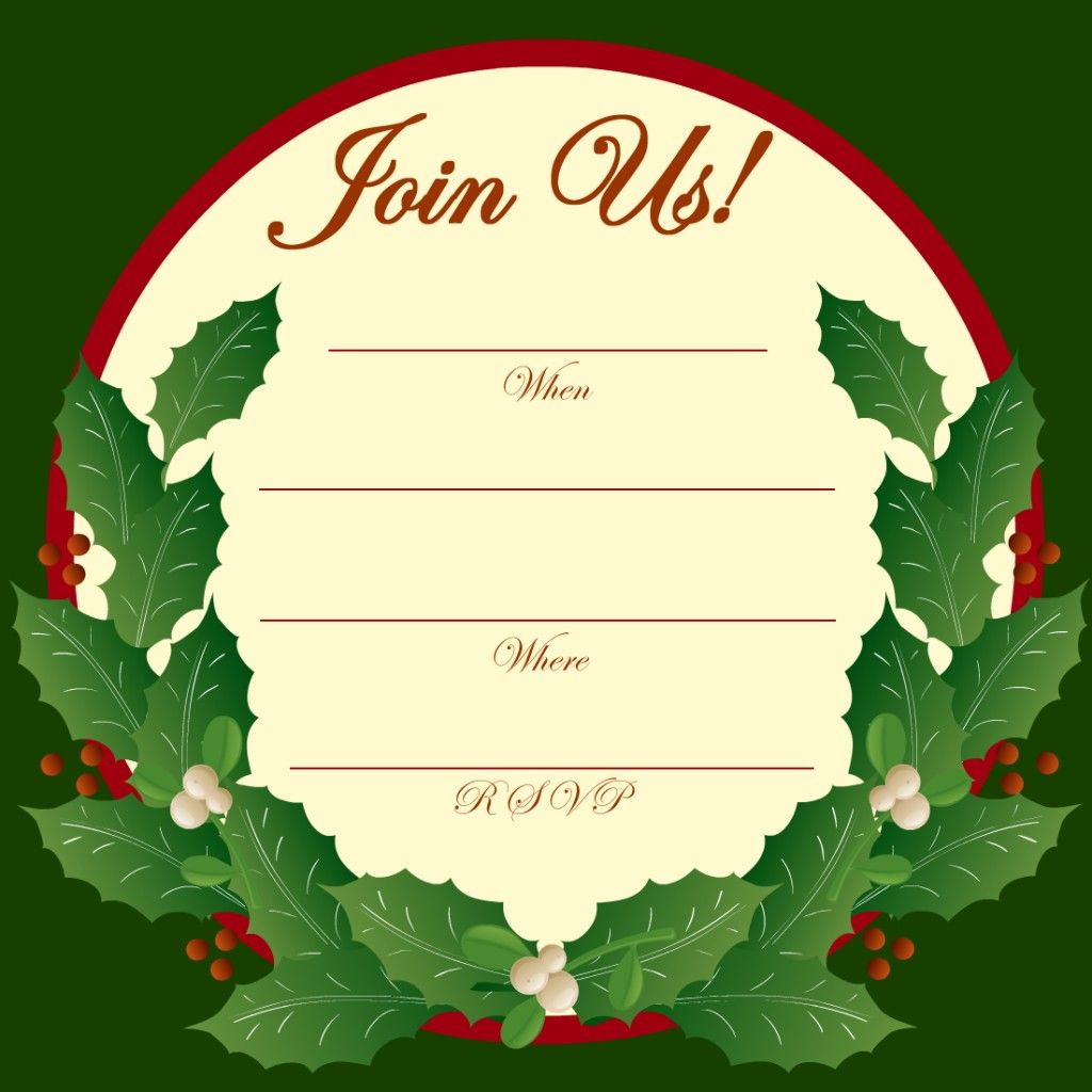 Free Printable Christmas And New Year Party Invitations  Free Xmas Invitations