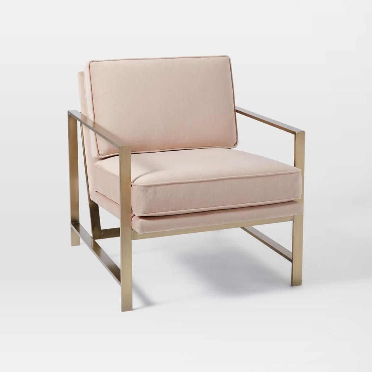 Metal Frame Upholstered Chair - Dusty Blush- west elm in australia ...