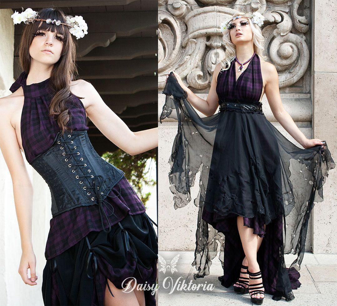 Black And Purple Plaid Gothic Summer Dresses And Corset Summer Dresses Purple Plaid Fairytale Gown [ 979 x 1080 Pixel ]