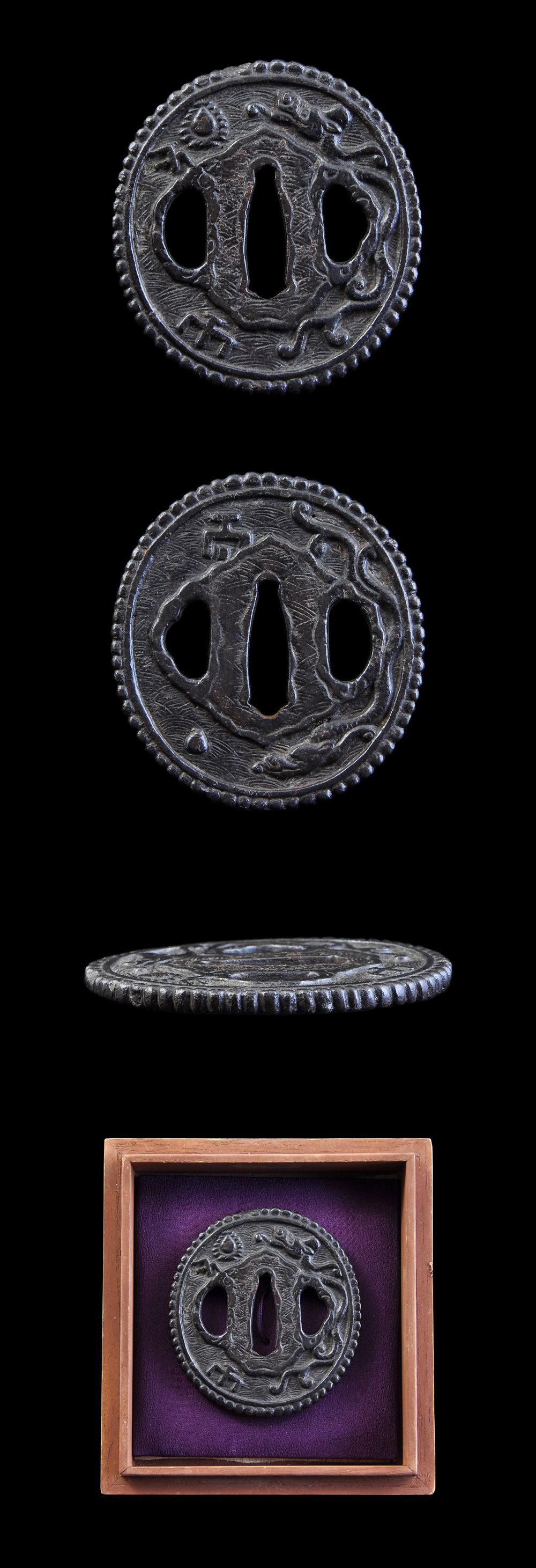 Ordering number : F12034 Tsuba: Mei (signature) : Mumei (Unsigned) Length : 6.75 cm x 6.23 cm ( 2.65 inches x 2.45 inches) Thickness of rim: 0.41 cm ( 0.16 inches) Jidai(era) : Edo period. Special ...