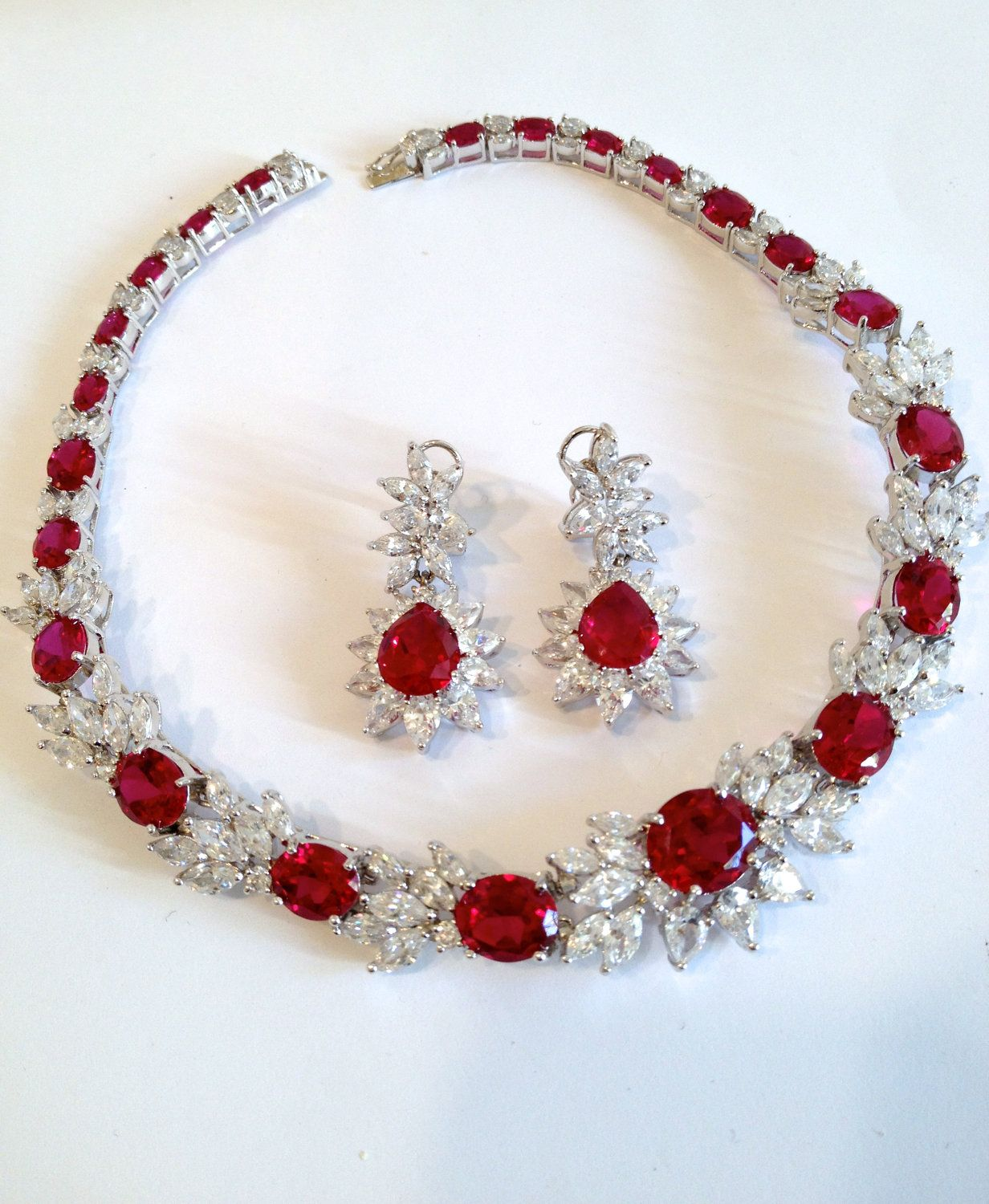 Vintage Sterling Silver Ruby And Diamond Collar Estate Jewelry Necklace And  Earring Set