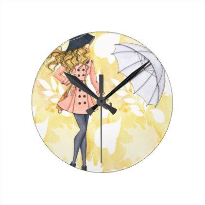 Girl With Umbrella Against Yellow Autumn Leaves Round Clock
