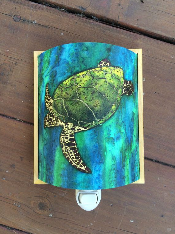 Bathroom Lights With Plugs green sea turtle. plug in night light. unique wall light. giclee