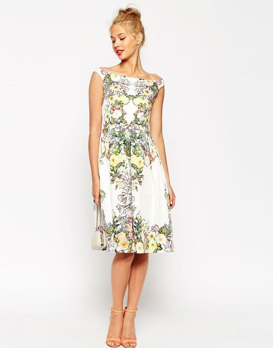 Image 1 - ASOS - Robe de bal de fin d\'année style Bardot à fleurs ...