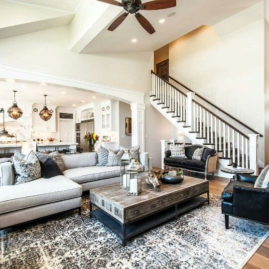 I Am In Love With This Living Room Staircase Plus Open Concept Living Kitchen Equals Beauty Big Living Room Design Big Living Rooms Livingroom Layout