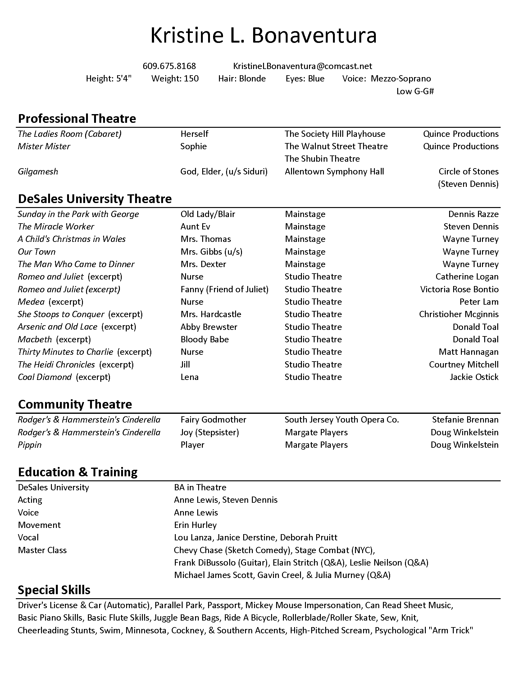 Acting Resume Format Acting Resume Template Free Download  Httpwwwresumecareer