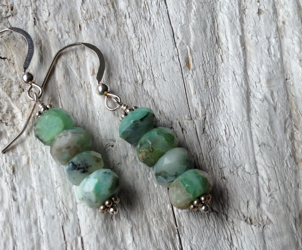 Beautiful Canadian Amazonite stone stacked earrings. Amazing shades if Caribbean greens. $20 visit www.sarahreiddesigns.com to learn more about me